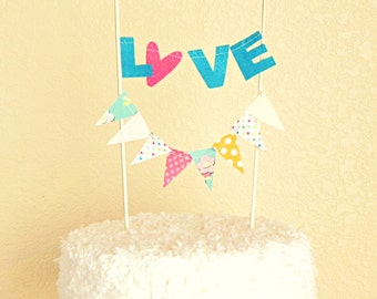 Love Sentiment Circus Cake Topper Decoration / Cake bunting / Vintage Circus Wedding