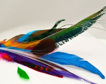 "LIGHT UP RAINBOW Feather Hair Clip Fascinator with ""Glowby"" Fiberoptic Light. Rainbow Multi-Colored Feathers. Glowing Illuminated Accessory"