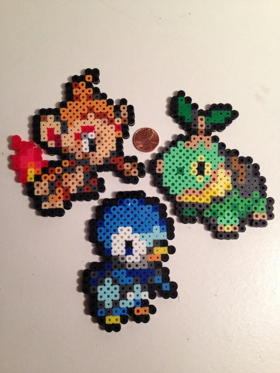 Items similar to sinnoh pokemon starter sprite chimchar turtwig piplup on etsy - Evolution tortipouss ...
