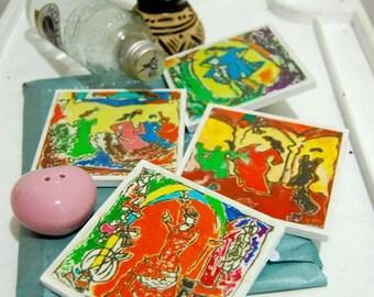 Colorful Coasters, Tile Art - Spanish Art, Flamenco Dancer, Travel Art, Unique Decor, Wall Art, Table Decor, Art Gift,  Vintage, Art Lover