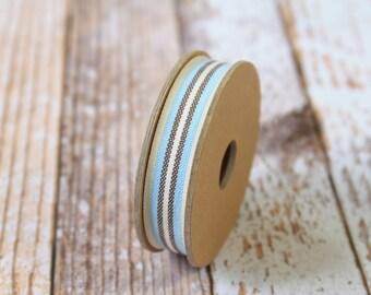 Cream Aqua and Brown DECK CHAIR Stripe fabric woven cotton blend ribbon