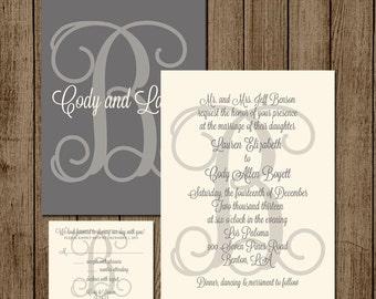 Customized Wedding Invitation Two Sided RSVP card Elegant Invite Initial Script Formal Monogram Grey 5x7 Digital File for print DIY jpeg