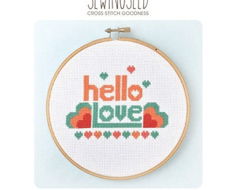 Hello Love Cross Stitch Pattern Instant Download