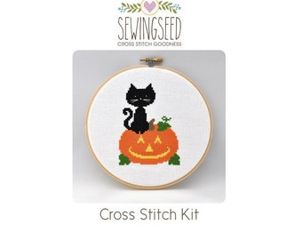 Trick or Treat, Black Cat and Pumpkin Cross Stitch Kit, DIY Halloween Decoration, Embroidery Kit