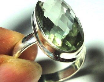 Green Amethyst Ring Green Prasiolite Amethyst Ring in Solid Sterling Silver Size 8