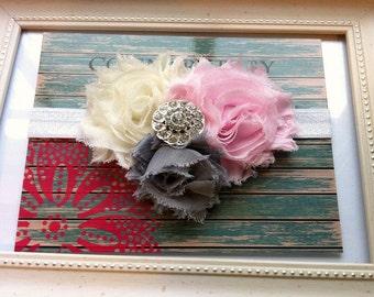 Shabby Rose Baby Headband Pinks and Grays...Shabby Rose headband...Pink and Gray Headband...Pink Baby headband...Newborn Headband