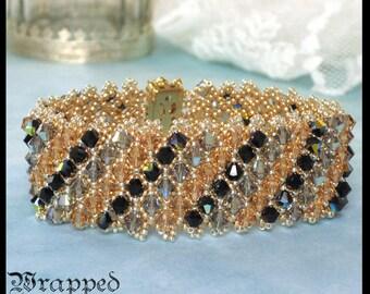 Swarovski Crystal Bracelet / Beaded Netting / Cuff / Gold Silver Amber Black / Art Deco / Rhinestone Box Clasp / Capricho Statement Jewelry