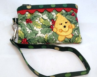 Christmas Parker Holly & Berries Wristlet - Quilted Embroidered in Red Green and Yellow