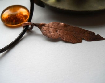 Torn and Tattered Copper Feather Pendant on Leather Cord, Customize Your Length