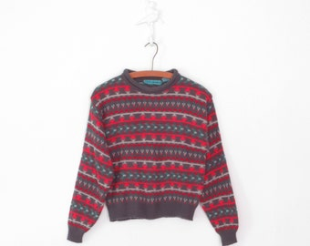Vintage Crop Top * 90s Cropped Sweater * Fair Isle Pullover * Medium