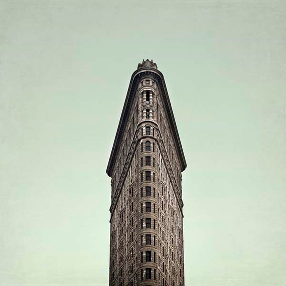 New York Print, Flatiron Building, Mint Green, Brown, Gray, New York City Print, Art Deco, Architecture