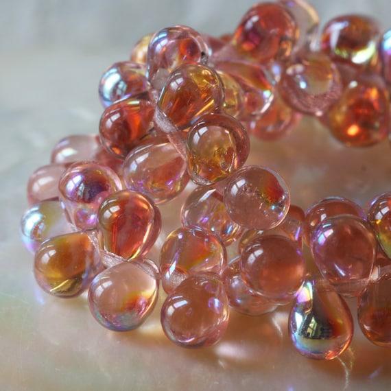 Teardrop Beads: 6x8mm Teardrop Beads Czech Glass Drop Beads Jewelry