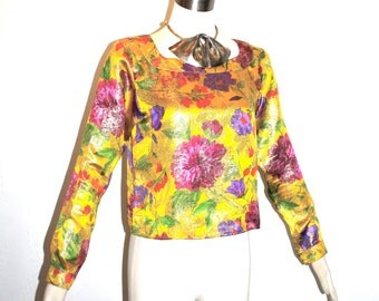 YVES SAINT LAURENT Rive Gauche Vintage Blouse Metallic Floral Silk Top - Authentic -