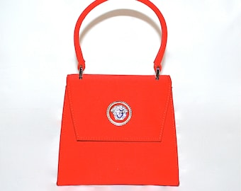 Vintage GIANNI VERSACE Couture Bag Red Convertible Crystal Medusa Evening Tote  -Authentic-