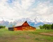 Grand Tetons Barn Photograph, Red Barn Photo, Moulton Barn, Jackson Hole Wyoming, Mormon Row Homestead Historic Barn Print, 8x12