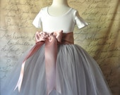 Girls grey tulle skirt Flower Girl tutu skirt Ballerina skirt TutusChic