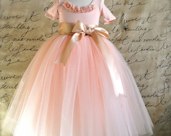 Blush Flower Girl Tutu with ribbon sashed waist. Weddings, birthday, special occasion tulle skirt.