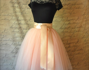 Blush pink lined tulle skirt for women.