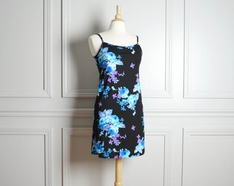 Dress Mini Stretch / Black Blue Floral / Spaghetti Straps Plunge Back / Chintz Grunge / 90s Vintage / Small S