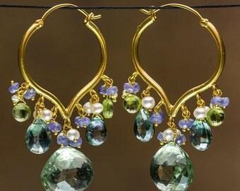 18 Karat Gold Hoop with Green Amethyst, Quartz, Peridot and Pearls