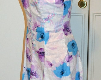 White Sundress in purple and blue floral print