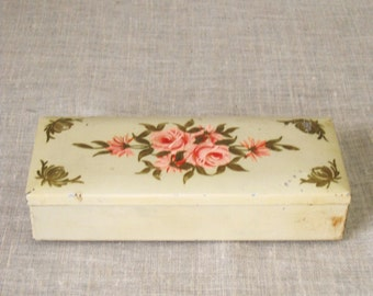 Metal Box , Antique Bi-fold , Hand Painted , Metal , Compartment Box , Storage Box , Floral Design , Flowers , Roses , Cigarette Box