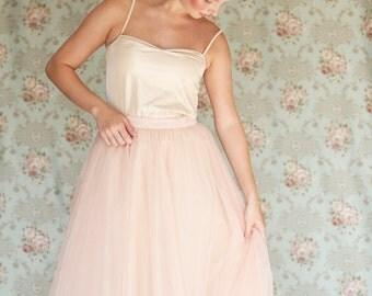 Blush tulle skirt / short tulle skirt / pink tutu skirt  / blush ballerina skirt / Bridesmaid skirt / Bridal party skirt / midi tutu