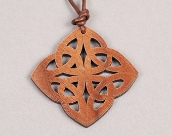 Celtic Knot Pendant - Celtic Knot Necklace - Wood Pendant - Wood Necklace