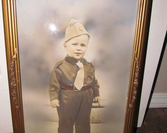 Vintage 1940s Bubble Glass Convex Frame with Little Boy Dressed In Military Uniform