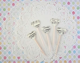 Music Cupcake Toppers. Heart Music Cupcake Topper - Cupcake Topper - 100% Handmade - Made to Order
