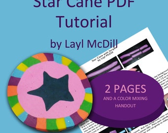 Star with Stripes Polymer Clay Cane How To PDF