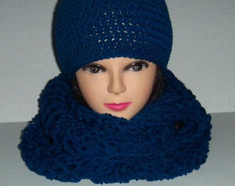 Crochet Infinity Circle Scarf and Beanie Hat Set Teal Blue, Accessories for Women, MADE TO ORDER