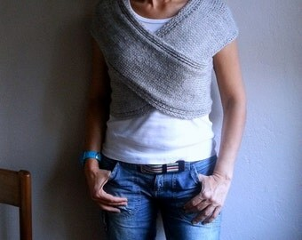 Knit Gray Vest Cross Sweater Scarf Neckwarmer Wrap Hood Capelet Top Gray Sweater, Winter Accessories