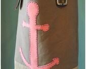 Anchor Tote Bag, Pink, Khaki, Brown, Repurposed Belt, Vintage, Hand-Stitched, Leather, Brown, Aqua, sailor, sea-life, Sea, ocean, boat