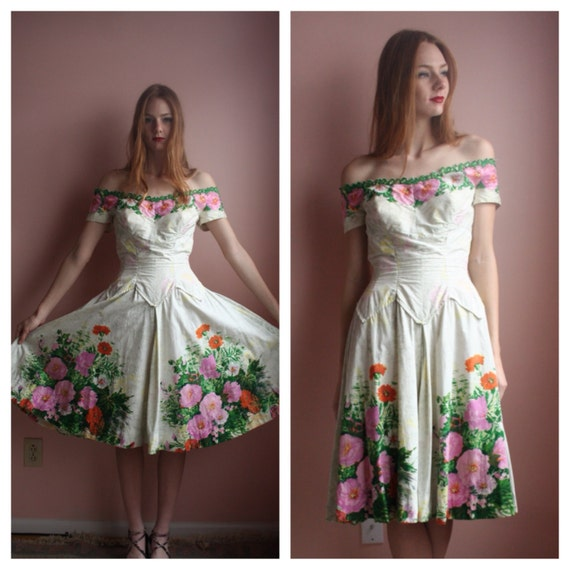 Vintage Wedding Dresses Miami: Vintage 50s Dress / Alix Of Miami Sundress / Couture Designer
