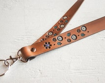 Custom Leather Lanyard - Clip and Key Ring- Floral pattern of Lavender, Turquoise, Yellow and White on Chocolate Brown stain - Custom Name