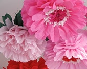 KISS ME. 5 Giant Paper Flowers, pink red poppies peonies, valentine, wedding, shower, window display, tea party, Party Blooms by Whimsy Pie