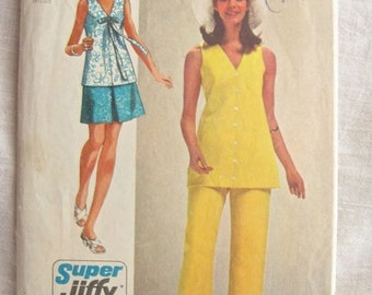 Simplicity 8830 Tunic Bow Top Mini Skirt and 1970s Pants Trousers Vintage Sewing Pattern Bust 38