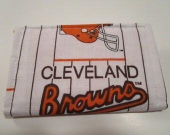 Cleveland Browns Credit Card Wallet - NFL Cleveland Browns Football Wallet , AFC, Business Card Holder, Gift Card Wallet, Fabric Wallet