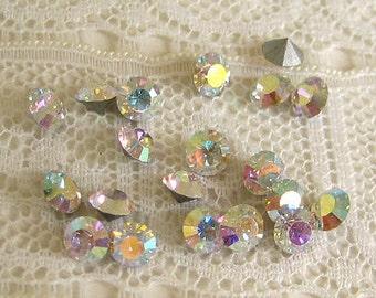 PP28 / SS14 Vintage Rhinestone Crystal Aurora Borealis Round Rhinestones