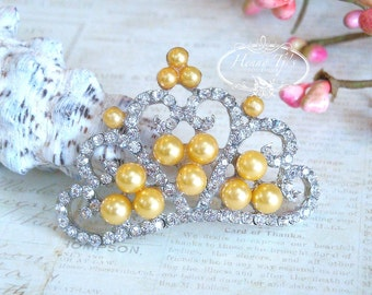 4 pcs YELLOW GOLD Pearls Stunning Tiara Crowned Princess crystal Rhinestone Buttons, Crystal Tiara Bow Embellishment