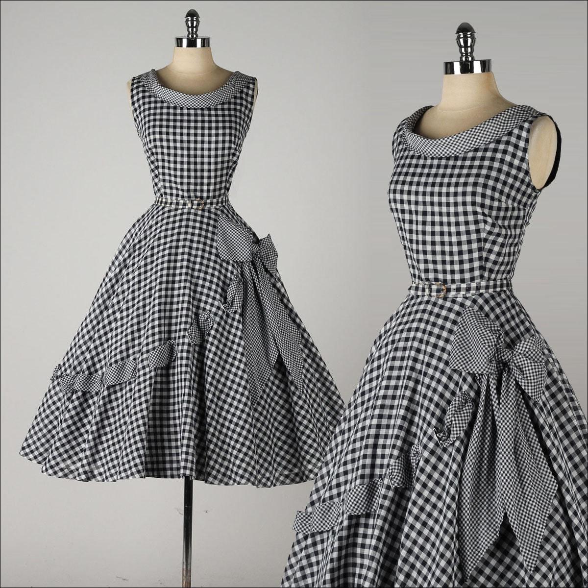 robe vintage des ann es 1950 coton vichy noir archet de. Black Bedroom Furniture Sets. Home Design Ideas