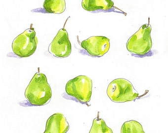 Original Watercolor Painting, Pears