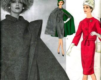 60s NINA RICCI Skirt Jacket & Cape Pattern Vogue Paris Original 1035 Vintage Sewing Pattern Size 16 Bust 36 inches TLC