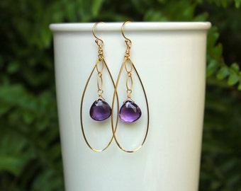 Amethyst Hoop Earrings, Gold Filled, Sterling Silver, Amethyst Hoops, Lightweight Teardrop Hoops, Purple Gemstone Hoops, Amethyst Earrings