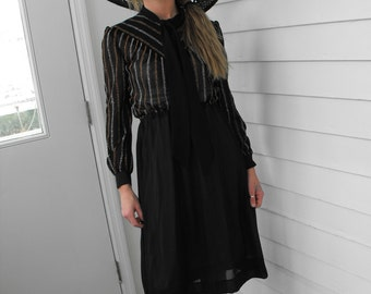 Sheer Metallic Black Dress Retro Glam Glitter Gold Silver Striped Vintage 70s XS S