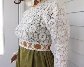 Hippie Victorian Mini 60s Lace Dress Green Prairie Vintage Long Sleeve XS