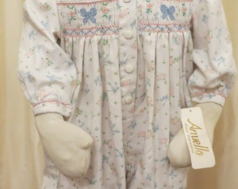 NEW Vintage Baby Girl Floral Hand Embroidered Overall Jumpsuit