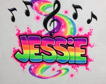Airbrush Rainbow Name w/ Music Notes T-Shirt size S M L XL 2X Airbrushed T Shirt