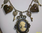 Pretty CAMEO, Key and Heart STEAMPUNK Charm Necklace and Earrings